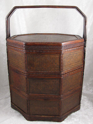 Chinese Tiffin Stacking Wedding Meal Lunch Basket Box Wood Woven Reed Vintage