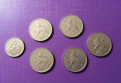 Old style 5p coin  and 10p coins x  5