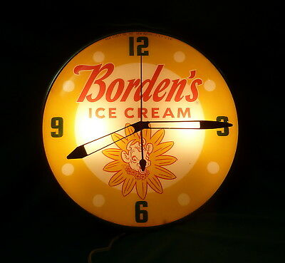 Vtg Working Pam Bubble Glass Borden's Elsie the Cow Electric Lighted Wall Clock