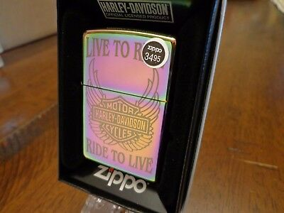 Harley Davidson Spectrum Live To Ride #28248 Zippo Lighter Mint In Box 2011