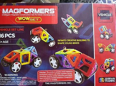 Megformers 16 pc wow set magnetic vehicle 22 instruction cards preloved