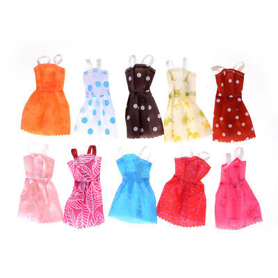 10Pcs/ lot Fashion Party Doll Dress Clothes Gown Clothing For Barbie Doll AB