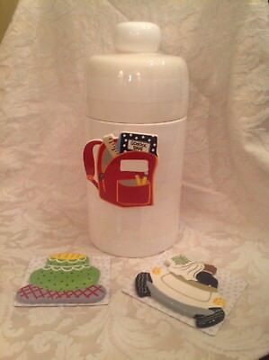 Happy Everything Coton Colors Striped White Canister & Wedding, Car, School Day