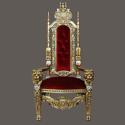 """Gothic Carved Solid Mahogany Wood Lion King Throne Chair - 70""""H~  Last one!"""