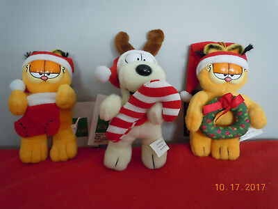 Lot of 3 Vintage Collectible Garfield & Odie Plush Stuffed Animal Holiday Theme