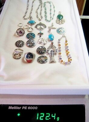 Lot of Sterling Jewelry, Scrap, Wear or Use for Parts 122.4 Grams