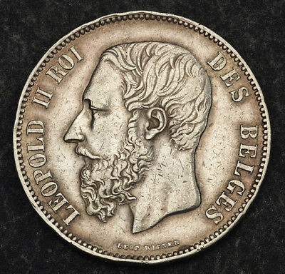 1873, Kingdom of Belgium, Leopold II. Large Silver 5 Francs (5 Frank) Coin. aXF!