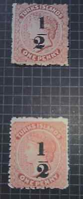 Mint Overprints Turks & Caicos Islands 1881. 2 Stamps.