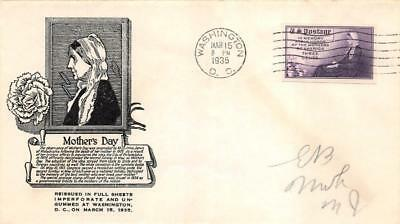 754 3c Imperforate Mothers, First Day Cover Cachet [E279458]