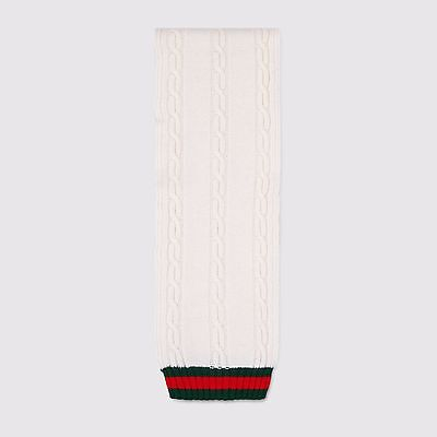 NWT NEW Gucci kids boys girls winter white cable scarf red green web 424152