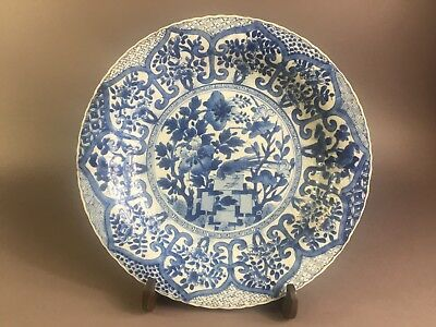 Antique Chinese Blue And White Plate 18Th Century Kangxi