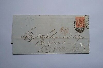 Great Britain 1868 4d Queen Victoria cover to France