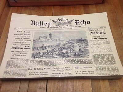 VALLEY NEWS ECHO lot (36) Civil War newspapers reprinted 1965 Potomic Edison