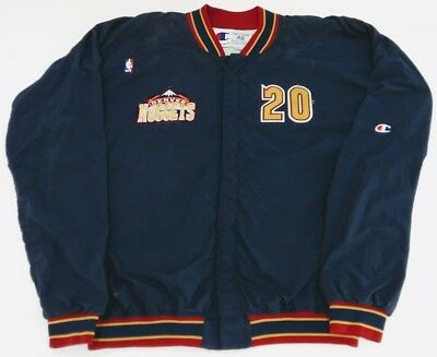 1994-95 LaPhonso Ellis Denver Nuggets Game Used Worn Warm-Up Road Jacket Sz 48+3