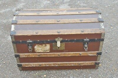 Solid Pine Dome Top Travel Trunk/Chest~Vintage/Antique~Very Large~BN5 9NP~