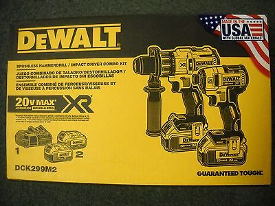DeWalt DCK299M2 20V Brushless Impact Driver Hammerdrill Cordless Kit Li-Ion NEW