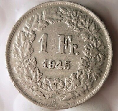 1945 SWITZERLAND FRANC - High Grade WW2 SILVER Coin - Strong Value - Lot #117
