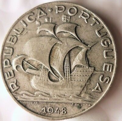 1948 PORTUGAL 5 ESCUDOS - Low Mintage Strong Value Silver Coin - Lot #117