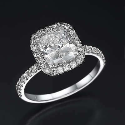 3.25 Carat Diamond Cushion Solitaire W/ Side Accents Wedding Ring 14K White Gold