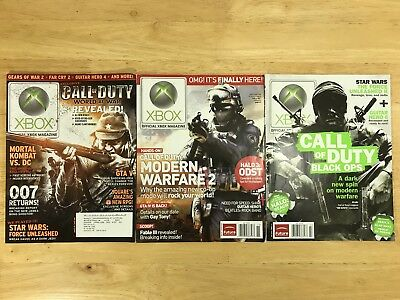 Lot of 3 Xbox Magazine Call of Duty World at War, Modern Warfare 2, Black Ops