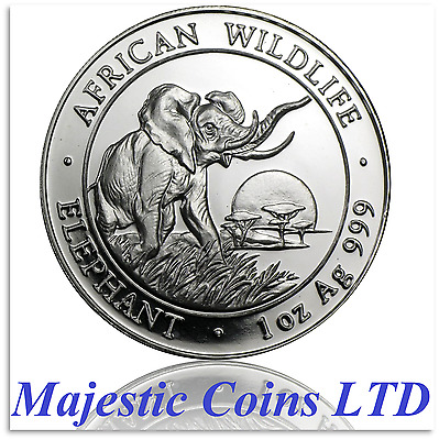 2010 Somalia African Wildlife Elephant Facing Right 1oz .999 Silver 2009 Obverse