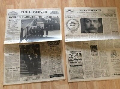 The Observer newspaper 31/1/1965 Churchill funeral old vintage