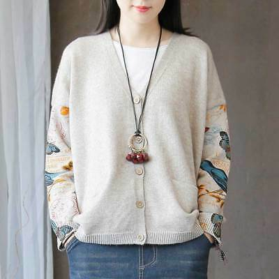 Retro Women's Casual Loose Cotton V Neck Cardigan Coat Sweater Knit Tops Jackets