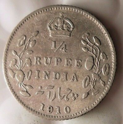 1910 BRITSH INDIA 1/4 RUPEE - RARE - Excellent Silver Coin - Lot #117