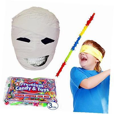 mummy head halloween pinata kit including buster stick, bandana, toy and candy