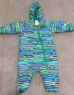 PATAGONIA boys baby nano PUFF BALL bunting REVERSIBLE 3-6 months.  Excellent