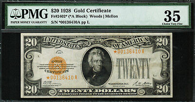 1928 $20 Gold Certificate FR-2402* - Star Note - PMG 35 - Choice Very Fine