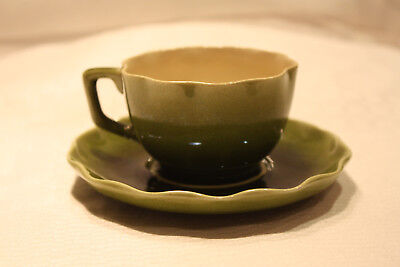 Scarce LINTHORPE Art Pottery Cup & Saucer  Green w/ Ruffled Edge c1880s EXC