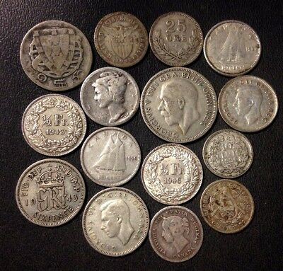 Vintage WORLD SILVER Coin Lot - 1880-1960 - 15 Uncommon Coins - Lot #117