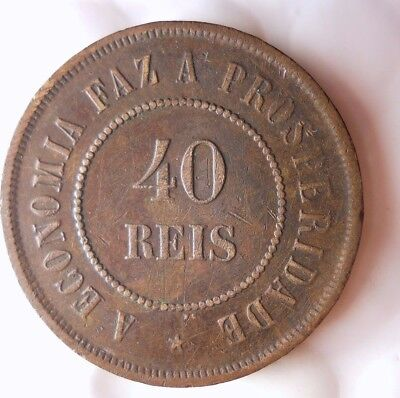 1897 BRAZIL 40 REIS - HIGH GRADE - Very Scarce Coin - Hard to Find - Lot #117