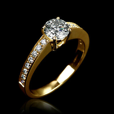 Real Natural 1.3 Ct Solitaire W Side Stones Diamond 14K Yellow Gold Bridal Ring