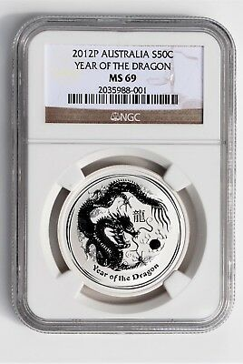 2012P AUSTRALIA S50C Year Of The Dragon NGC MS 69 Coin 1/2 Ounce Silver