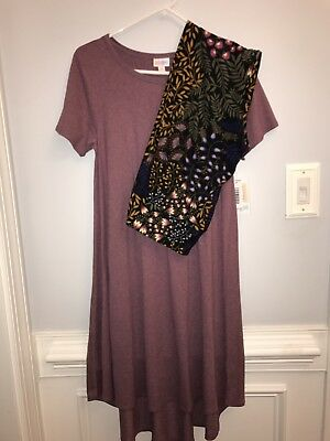 Lularoe Carly XS and Legging TC set heather purple and floral NEW - FREE SHIP