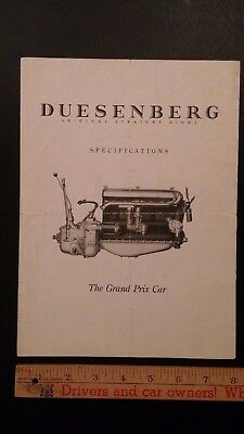 192X  DUESENBERG - Original B&W Folder -  Engine Specs - Good Condition (US)
