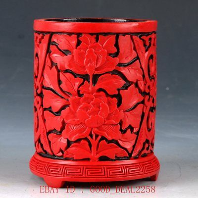 Chinese Red Coral Hand Carved Collectable Brush Pots QQ11