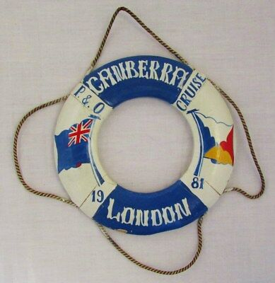 Miniature Wooden Lifebuoy P&O Shipping Lines Canberra London 1981 Blue