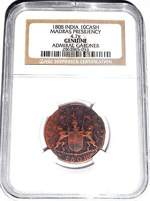 1808 Admiral Gardner Shipwreck East India Co TEN CASH Coin, NGC Cert .01 Auction