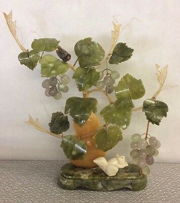 Vintage Chinese Jade Bonsai Tree Leaves Grapes Squirrel Bird Agate Marble