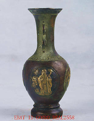 Chinese Bronze Handwork Carved Vase W Ming Dynesty Xuande Mark QT046