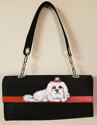 Black Satin Handpainted MALTESE Dog Red Carpet Clutch Purse Handbag Evening Bag