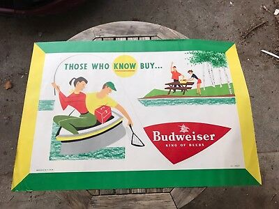 Vintage 1954 Budweiser Anheuser Busch Advertising Poster Sign