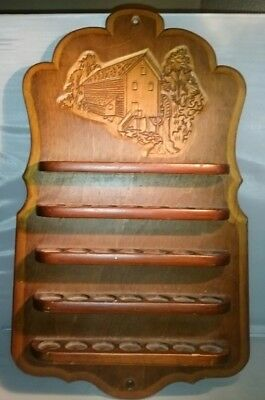 "Vtg Wood Wooden Thimble Stand Shelf Rack Display Covered Bridge 35 Curio 16""x10"""