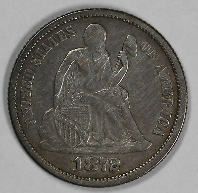 1872 10c Seated Liberty Dime UNSLABBED