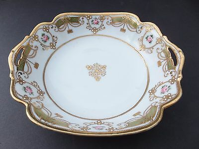 NIPPON Bowl with handles,  moderately jeweled with gold and green, RCMark,1911