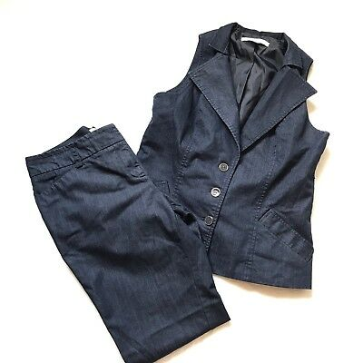 New York & Co Chambray Womens Suit Pant Vest Set 2 Piece Blue 10 Med Career