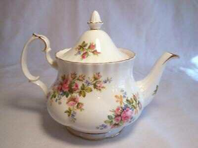 GORGEOUS VINTAGE ROYAL ALBERT ENGLAND LARGE MOSS ROSE TEAPOT c1956 NO RES BEAUTY